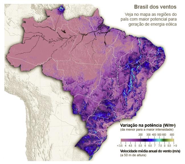 Mapa da força dos ventos para produção de energia no Brasil.