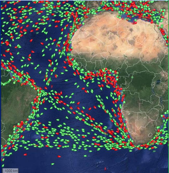 Rotas de navios de carga no oceano Atlântico