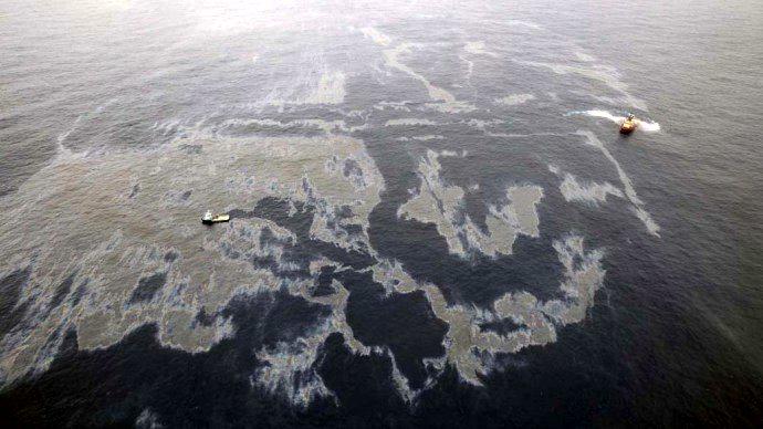 Vazamento de petróleo em poço da empresa Chevron, na Bacia de Campos.